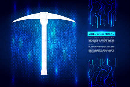 Abstract mining concept with pickaxe and computer code. A stream of hexadecimal code on background. The concept of coding and mining of cryptocurrency. Illustration vector.