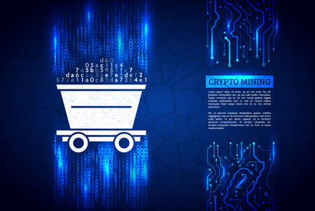 A stream of binary code on background. The concept of coding and mining of ryptocurrency. Abstract mining concept with trolley and computer code. Illustration vector. Ilustração