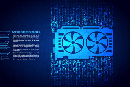 Video card technology illustration. Cryptocurrency GPU mining. A stream of hexadecimal code on background.