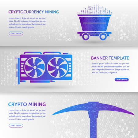 Cryptocurrency concept banner background with trolley, video card and pickaxe. Mining technology. Digital money. High-tech technology vector illustration.