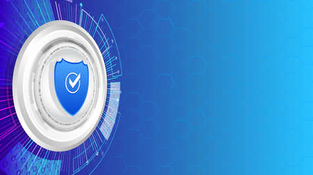 Security shield and data protection technology background. System privacy   Abstract isometric concept with internet shield.