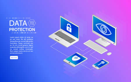 Privacy protection antivirus hack.  Data protection isometric concept. Internet security 3d isometry illustration. Can use for web site and banner