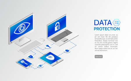Data protection isometric concept. Internet security 3d isometry illustration. Privacy protection antivirus hack. Can use for web site and banner