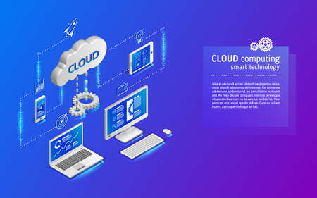 Cloud technology computing concept. Network illustration with computer, laptop, tablet, and smartphone. 3d landing page layout, web banner Illusztráció