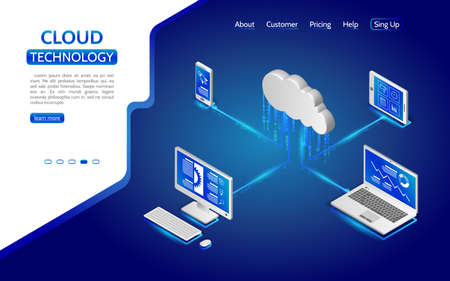 Isometric cloud computing services concept. Illustration cloud security system with computer, laptop, tablet and smartphone. 3d remote data storage