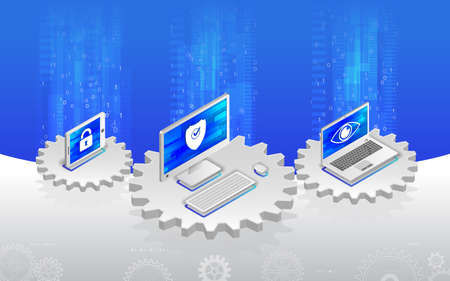 Internet security concept. Privacy protection antivirus hack. Flat 3d isometric illustration. Cyber crime and data protection with computer, laptop and tablet.