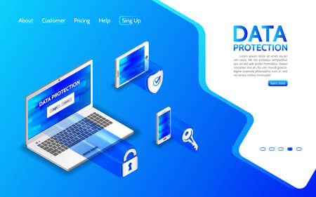 Cyber crime and data protection with laptop, smartphone and tablet. Internet security concept. Privacy protection antivirus hack. Flat 3d isometric illustration. Illustration