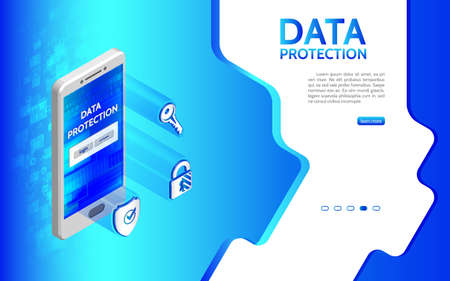 Cyber crime and data protection background with smartphone. Internet security icon key, shield, padlock. Privacy protection antivirus hack. Flat 3d isometric illustration.