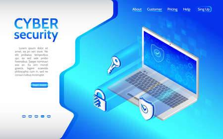 Cyber crime and data protection background with Laptop. Internet security icon key, shield, padlock. Privacy protection antivirus hack. Flat 3d isometric illustration.