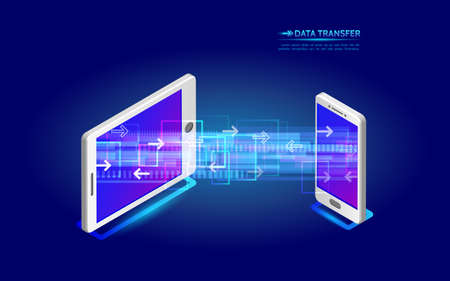 File transfer from tablet to smartphone. Abstract virtual digital stream. Wireless communications concept. Data flow vector illustration Ilustração Vetorial