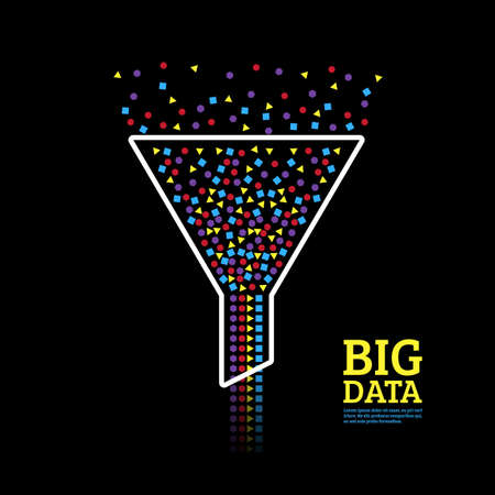 Visualización de big data. Concepto de análisis de información. Embudo de flujo de información abstracta.