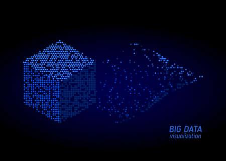 Résumé des informations de tri numérique. Analyse des informations. Visualisation de l'exploration de données. Algorithmes de code binaire. Fond de technologie vectorielle. Vecteurs