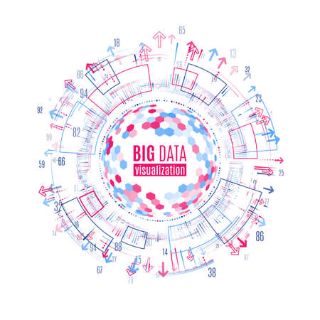 Big data visualization. Abstract background with dots array and lines. Connection structure. Data array visual concept.