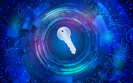 Cyber key for internet protection. Computer data defense. Global network security. Abstract digital business background. Circuit board