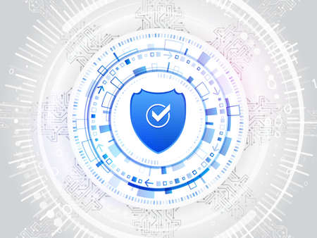 Cyber shield for internet protection. Computer data defense. Global network security. Abstract digital business background. Circuit board