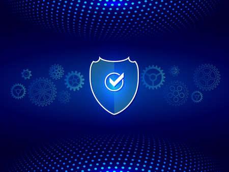 Contexte technologique composé de points et d'un mécanisme d'engrenage. Bouclier de sécurité réseau. Protection des données. Vecteurs