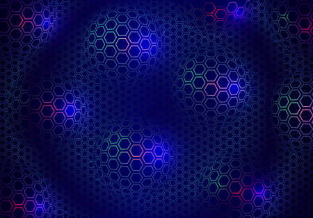 Abstract technical background of spheres and hexagons.  Perspective circle with the effect of glow and glare. Vector illustration