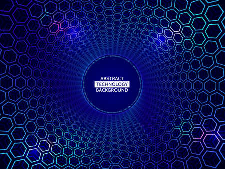 Abstract background tunnel of spheres and hexagons.   Perspective circle with the effect of glow and glare. vector illustration