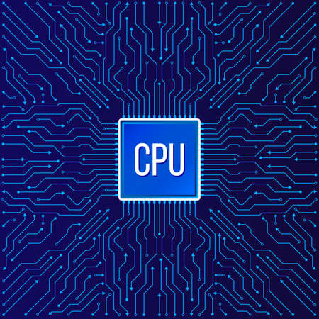Chip electronic pattern for computer technology, Motherboard integrated computing illustration Çizim