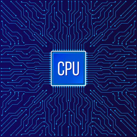 Schema elettronico del chip per la tecnologia informatica, illustrazione informatica integrata della scheda madre