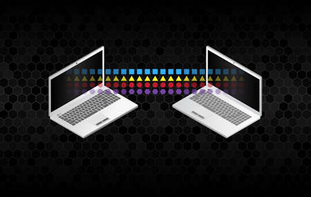 File sharing concepts. Isometric design elements on the black background. Two information transferring laptops. Abstract data transfer vector illustration.