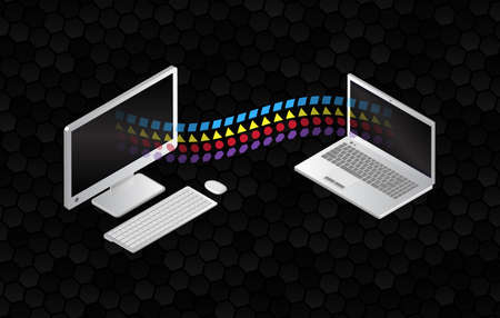 File sharing concepts. Isometric design elements on the black background. Information transferring computer and laptop. Abstract data transfer vector illustration. Illusztráció