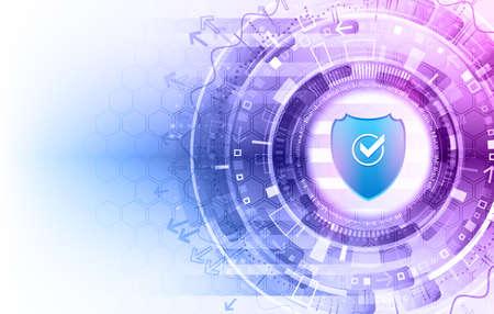 Ciberseguridad para proyectos empresariales e internet. Ilustración de vector de servicios de seguridad de datos. Protección de datos, privacidad y concepto de seguridad en internet. Ilustración de vector