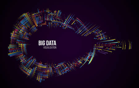 Big data visualization. Information analytics concept. Abstract stream information. Filtering machine algorithms. Sorting binary code. Vector technology background. Illusztráció