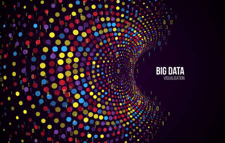 Big data visualization. Abstract background with dots array and binary code. Connection structure. Data array visual concept. Big data connection complex. Illusztráció