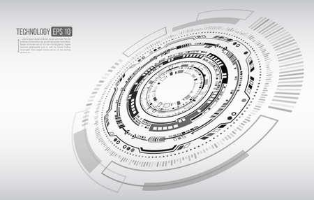 Circular technology background design vector illustration. Futuristic scientific interface. Hi tech sci fi design. Illusztráció