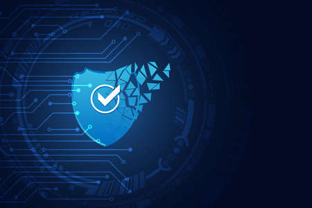 Data protection privacy concept. Shield icon and internet technology networking connection. Cyber security internet and networking concept. Abstract circuit board.