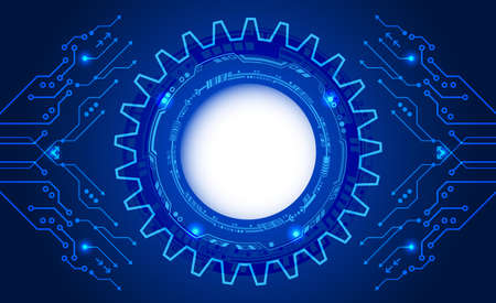 Abstract blue background with various technology elements. Hi-tech communication concept. Connection structure vector illustration.