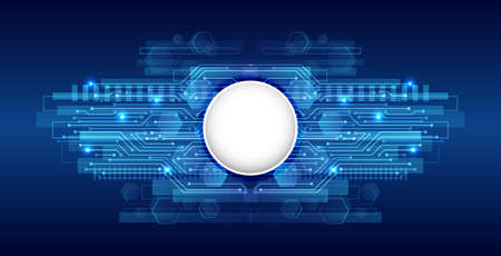 Hi-tech digital technology concept. Illustration high computer technology on blue background.  Abstract futuristic circuit board.
