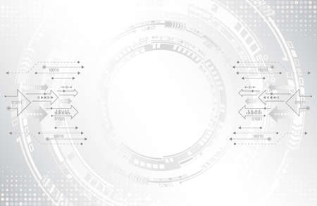 Abstract circuit technology concept. Futuristic circle elements background. Hi-tech computer technology on the grey background. Vector illustration