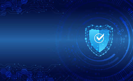 Data security system, information or network protection. Cyber security and data protection. Shield icon, future technology for verification. Abstract circuit board.