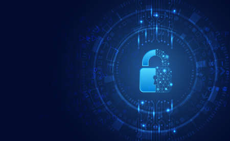 Data protection privacy concept. Padlock icon and internet technology networking connection. Cyber security internet and networking concept. Abstract circuit board.