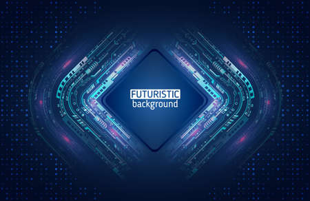 Abstract global sci fi concept. Hi-tech vector illustration with various technology elements. Digital internet communication on blue background. Cyber security internet and networking concept. Illusztráció