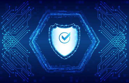 Sistema de seguridad de datos, protección de la información o de la red. Ciberseguridad y protección de datos. Icono de escudo, tecnología futura para verificación. Placa de circuito abstracto. Ilustración de vector