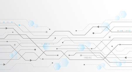 Concepto abstracto de tecnología global. Comunicación digital por internet. Estructura de conexión. Ilustración de vector de alta tecnología eps 10. Placa de circuito