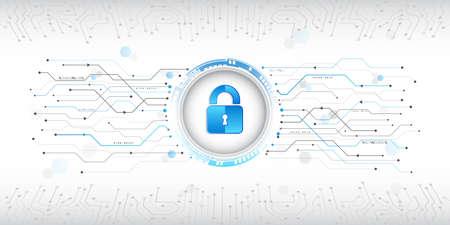 Cyber data security or information privacy idea. Cybersecurity and information or network protection. EPS 10 vector illustration. Illusztráció