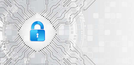Concept en ligne de protection Internet. Illustration vectorielle de cybersécurité et protection de la confidentialité des données. Mécanisme de sécurité du réseau mondial. Confidentialité des informations.