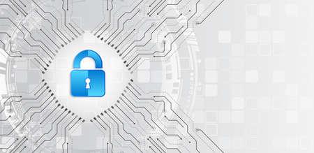 Concetto in linea di protezione di Internet. Illustrazione vettoriale di sicurezza informatica e protezione della privacy dei dati. Meccanismo di sicurezza della rete globale. Privacy delle informazioni.