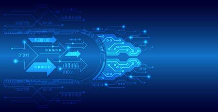 Placa de circuito de alta tecnología abstracta en tonos azules. Fondo de tecnología con diversos elementos tecnológicos. Ilustración de vector