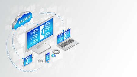Copier et enregistrer des données sur un ordinateur, un ordinateur portable, un smartphone, une tablette. Technologie de synchronisation de base de données. Concept de conception de sauvegarde. Illustration vectorielle de service cloud.