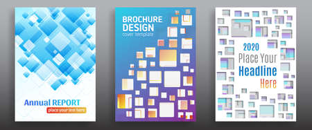 Minimal cover design with colorful square, shapes. Creative and inspirational brochure design template. Technology vector geometric illustration.