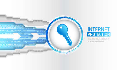 Cyber data security or information privacy idea. Cybersecurity and information or network protection. Futuristic vector illustration.