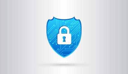 Abstract high tech circuit board. Security shield concept. Internet security. Vector illustration digital protection.