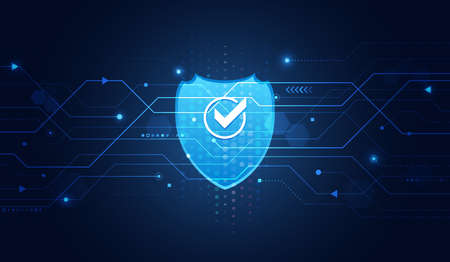 Cyber security and data protection. Shield icon, future technology for verification. Abstract circuit board. Data security system, information or network protection. Illustration