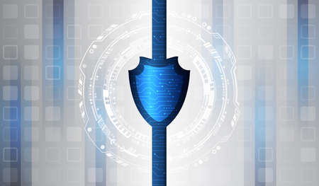 Data security system, information or network protection. Cyber security and data protection. Shield icon, future technology for verification. Abstract hi-tech background