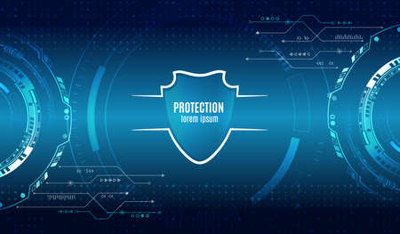 Cyber security and data protection. Shield icon, future technology for verification. Abstract circuit board. Data security system, information or network protection. 스톡 콘텐츠 - 150542172